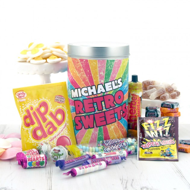 Hampers and Gifts to the UK - Send the Any Name Retro Sweets Tin