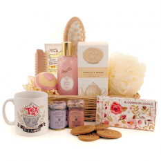 Hampers and Gifts to the UK - Send the Bloomin Delicious Tea and Pamper Gift Basket