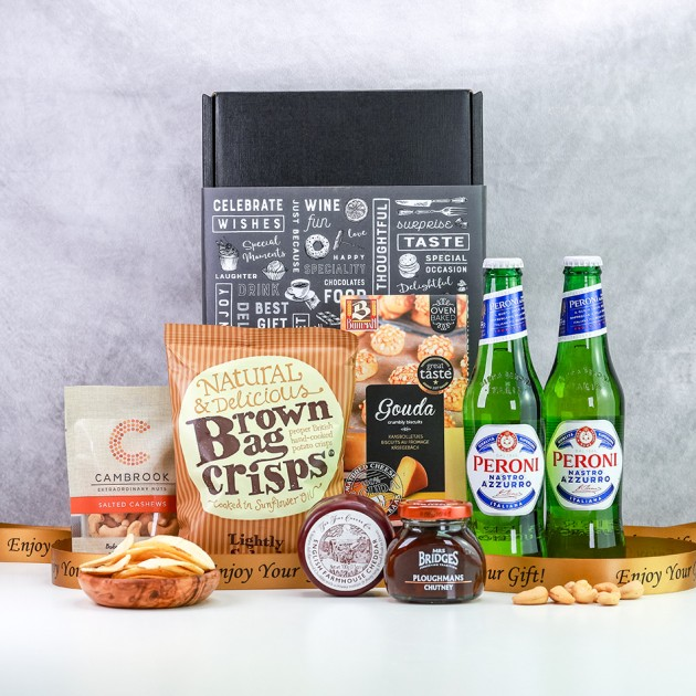Hampers and Gifts to the UK - Send the Peroni Lager & Savouries Gift Box