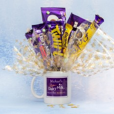 Hampers and Gifts to the UK - Send the Personalised Enjoy the Moment Diary Milk Mug Bouquet