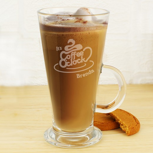 Hampers and Gifts to the UK - Send the Personalised Coffee O Clock Latte Glass
