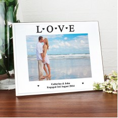 Hampers and Gifts to the UK - Send the Personalised Mirrored Love Glass Frame