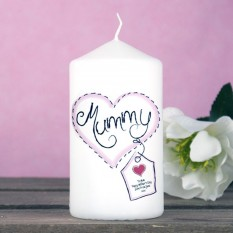 Hampers and Gifts to the UK - Send the Heart Stitch Mum Personalised Candle