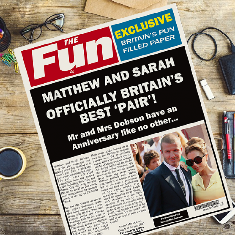 Personalised the fun anniversary spoof newspaper