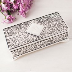 Hampers and Gifts to the UK - Send the Engraved Antique Silver Plated Jewellery Box