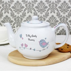 Hampers and Gifts to the UK - Send the Personalised Floral Bird Tea Pot