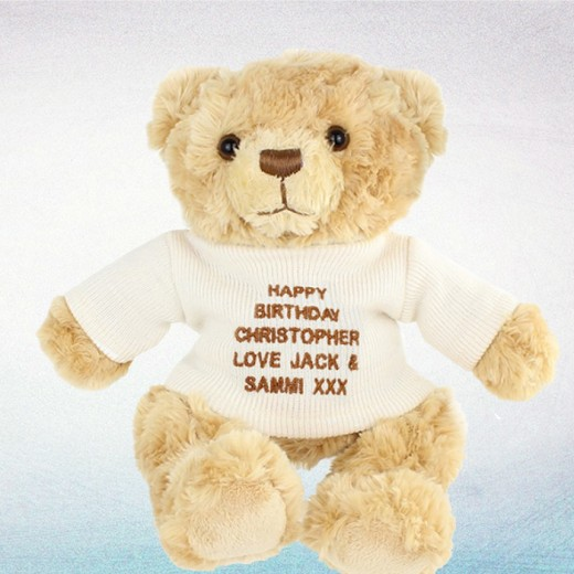 Hampers and Gifts to the UK - Send the Message Teddy Bear in Cream
