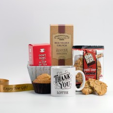 Hampers and Gifts to the UK - Send the Personalised Name Thank You Tea and Cookies Hamper