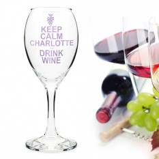 Hampers and Gifts to the UK - Send the Personalised Keep Calm Drink Wine Glass