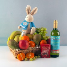 New Parent Fruit Basket with Wine and Chocolates