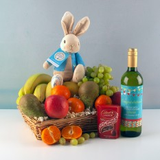 Hampers and Gifts to the UK - Send the New Parent Fruit Basket with Wine and Chocolates