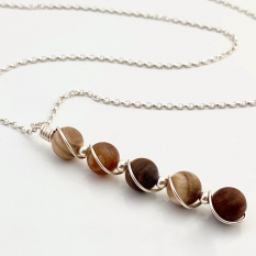 Hampers and Gifts to the UK - Send the Petrified Wood Agate Gemstone Necklace