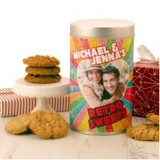 Hampers and Gifts to the UK - Send the Photo Feature Couple's Retro Cookie Tin