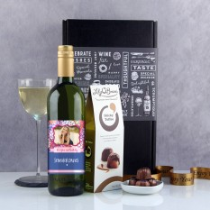 Hampers and Gifts to the UK - Send the Personalised Flower Power Birthday Wine Gift