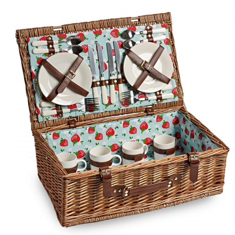 Optima Gordon 4 Person Tea Picnic Basket : Strawberry fields fitted four person picnic basket