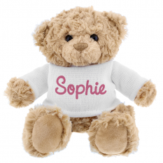 Hampers and Gifts to the UK - Send the Personalised Pink Name Teddy Bear