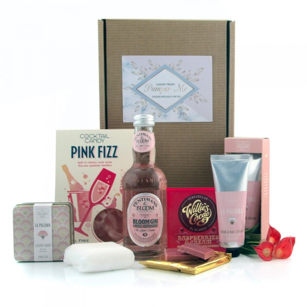 Hampers and Gifts to the UK - Send the Pampering Cocktail of Pink Fizz