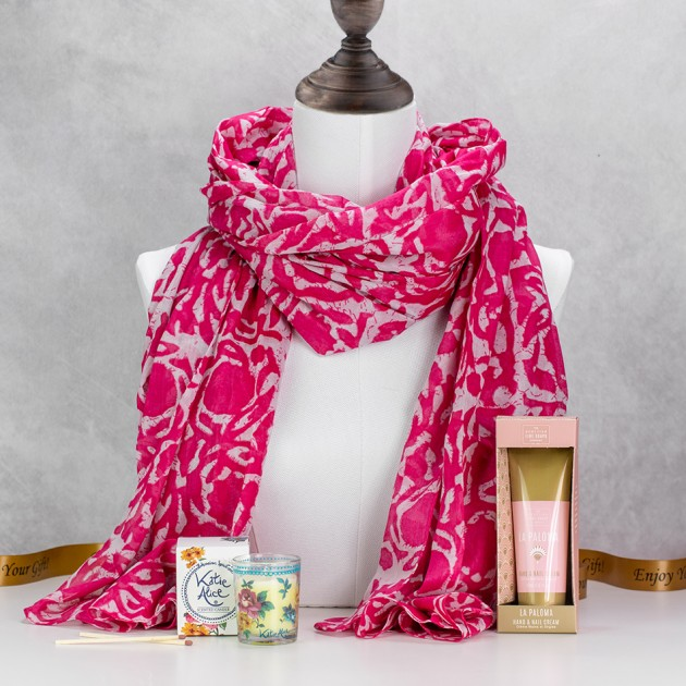 Hampers and Gifts to the UK - Send the Fuchsia Scarf with Bohemia Floral Scents