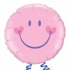 Hampers and Gifts to the UK - Send the Smile Face Pink Foil Balloon