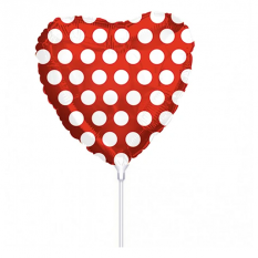 Hampers and Gifts to the UK - Send the Polka Dot Red Heart Mini Balloon