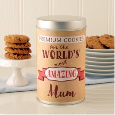 Hampers and Gifts to the UK - Send the Personalised Premium Cookies Tin with a Dozen Cookies