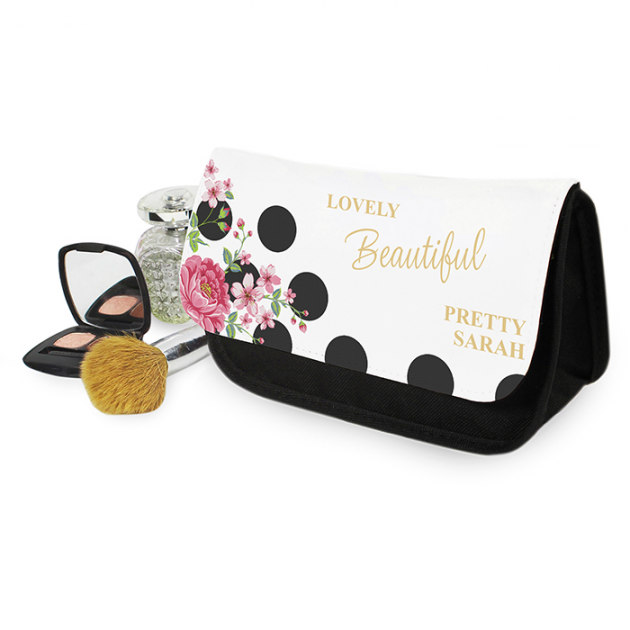 Hampers and Gifts to the UK - Send the Personalised Makeup Bag - Floral