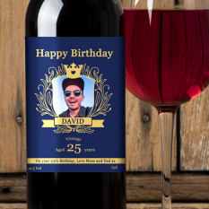 Hampers and Gifts to the UK - Send the Personalised Birthday Coat of Arms Wine Gift