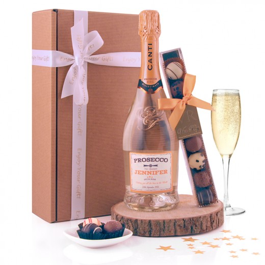 Hampers and Gifts to the UK - Send the Personalised Prosecco and Chocolates