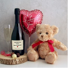 Hampers and Gifts to the UK - Send the Personalised Prosecco and Teddy Bear