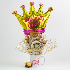 Hampers and Gifts to the UK - Send the Personalised Any Name Birthday Queen Chocolate Bouquet