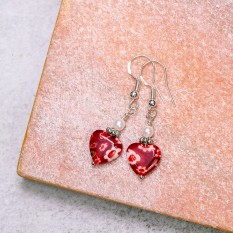 Hampers and Gifts to the UK - Send the Red Heart Millefiori Drop Earrings