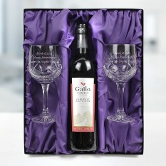 Hampers and Gifts to the UK - Send the Red Wine and Pair of Crystal Glasses