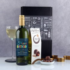 Hampers and Gifts to the UK - Send the Personalised Retro Style Birthday Wine Gift