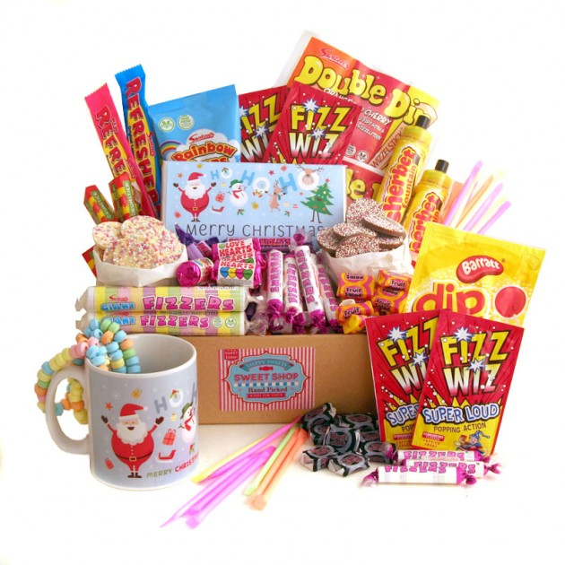 Hampers and Gifts to the UK - Send the Bumper Christmas Sweets Hamper with Mug and Chocolate Bar