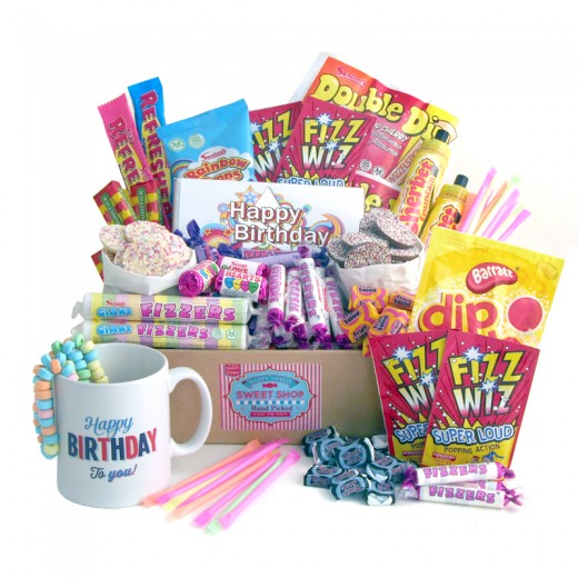 Hampers and Gifts to the UK - Send the Bumper Retro Sweets Birthday Hamper with Mug and Chocolate Bar