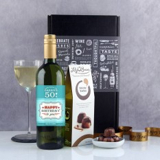 Hampers and Gifts to the UK - Send the  Personalised Raise Your Glass Birthday Wine Gift