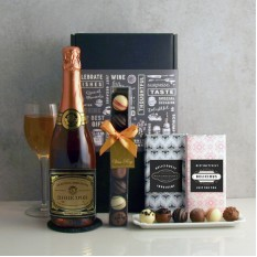 Hampers and Gifts to the UK - Send the Robe d'Or Sparkling Rosé and Chocolates