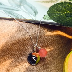 Hampers and Gifts to the UK - Send the Silver Personalised Initial Letter Cherry Quartz Necklace