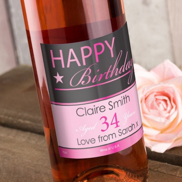Hampers and Gifts to the UK - Send the Happy Birthday Rose Wine Personalised