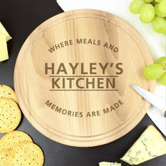 Hampers and Gifts to the UK - Send the Personalised 'Meals and Memories' Round Chopping Board