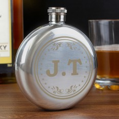 Hampers and Gifts to the UK - Send the Monogram Round Hip Flask
