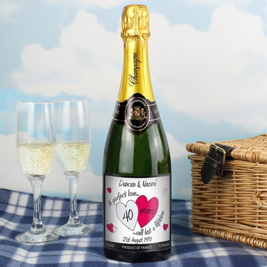 Hampers and Gifts to the UK - Send the A Perfect Love Ruby Champagne