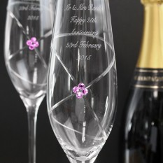 Hampers and Gifts to the UK - Send the Infinity Flutes with Ruby Swarovski Elements