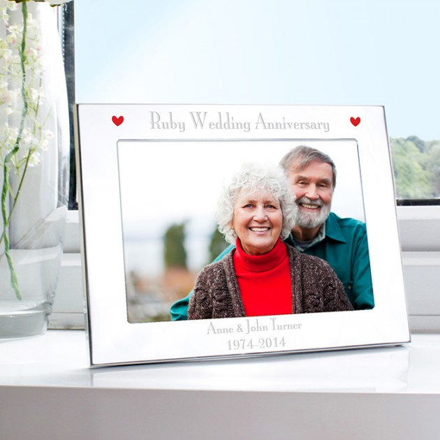 Hampers and Gifts to the UK - Send the Silver Ruby Anniversary Photo Frame