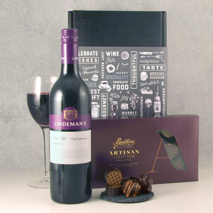 Red Wine And Chocolates Hamper Presented In Gift Box