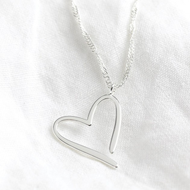 Hampers and Gifts to the UK - Send the Silver Heart Outline Pendant Necklace