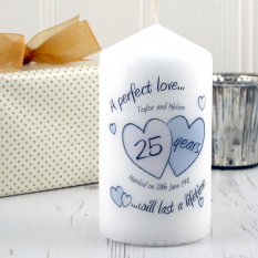 Hampers and Gifts to the UK - Send the Personalised A Perfect Love Silver Anniversary Candle