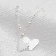 Hampers and Gifts to the UK - Send the Falling Double Hearts Necklace