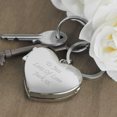 Hampers and Gifts to the UK - Send the Silver Engraved Heart Photo Keyring