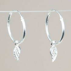 Hampers and Gifts to the UK - Send the Sterling Silver Wing Charm Hoop Earrings